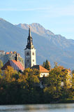 Old medieval church in Bled, Slovenia Stock Photography