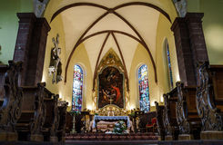 Old medieval church interior in Alsace Royalty Free Stock Photography