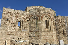 Old medieval church at Lindos acropolis, Rhodes Royalty Free Stock Photos