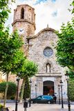 Old medieval Church of St Nicolau, Spain. Old stone medieval Church of St Nicolau, it is known as the Cathedral of the Coast. Malgrat de Mar, Catalonia, Spain Stock Images
