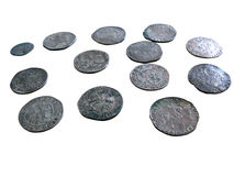 Old medieval coins isolated Royalty Free Stock Images