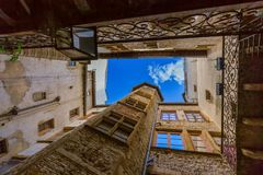 Old medieval courtyard Traboules in Lyon France. Travel and architecture background stock photography