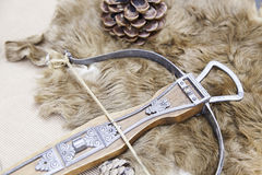 Old medieval crossbow. Detail of an old gun with arrows, ancient art, weapon of war Royalty Free Stock Photography