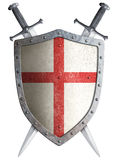 Old medieval crusader shield and two crossed