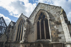 Old medieval english church windows Royalty Free Stock Images