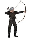 Old Medieval or Fantasy Archer. Old Mediaeval or fantasy archer with drawn bow and arrow wearing leather armour, 3d digitally rendered illustration Stock Image