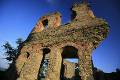 Old medieval fortress ruins in Transylvania. On blue sky Royalty Free Stock Photography