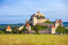 Old medieval fortress on top of the hill, Rupea village located Royalty Free Stock Image