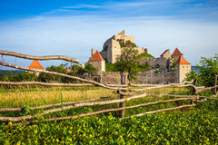 Old medieval fortress on top of the hill, Rupea village located Royalty Free Stock Photos