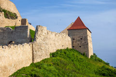 Old medieval fortress on top of the hill, Rupea village located Royalty Free Stock Photo