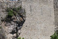 Old medieval fortress wall texture from Penne in france stock photography