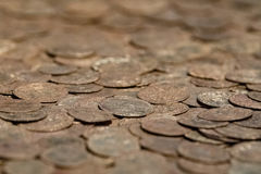Old medieval golden coins Stock Photography