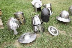 Old medieval helmets Stock Image