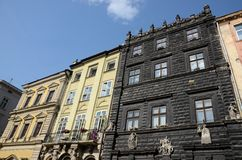 Old medieval houses of Lviv market square,Ukraine Royalty Free Stock Image