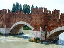 Old medieval looking bridge. Medieval structure bridge in Italy Stock Images