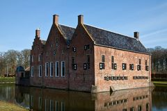 Old medieval mansion with water defence Royalty Free Stock Images