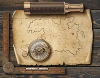 Old medieval pirates` map with compass and spyglass. Adventure and travel concept. 3d illustration. royalty free stock image