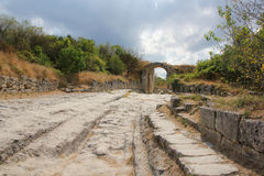 Old medieval road. The old medieval road in the town Chufut-Kale. Crimea royalty free stock photography
