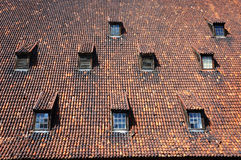 Old medieval roof with dormers. Stock Photos
