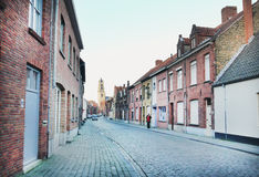 An old medieval  side street of Bruges Royalty Free Stock Photo
