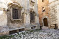Old medieval small town Montepulciano in Tuscany Royalty Free Stock Images