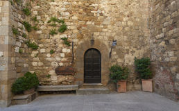 Old medieval small town in Pienza, Tuscany Royalty Free Stock Image