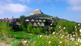The old medieval town of Morella, Castellon stock video footage