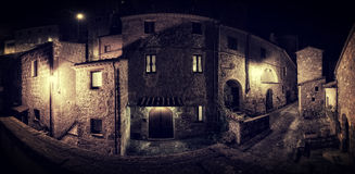 Old Medieval town street. At night stock image