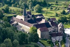 Old medieval village of Baume les Messieurs in France. 2018-05-09 Baume les Messieurs France. Old medieval village of Baume les Messieurs in France royalty free stock images