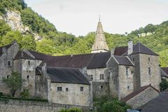 Old medieval village of Baume les Messieurs in France stock images
