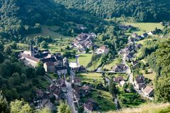 Old medieval village of Baume les Messieurs in France. 2018-05-09 Baume les Messieurs France. Old medieval village of Baume les Messieurs in France stock photo