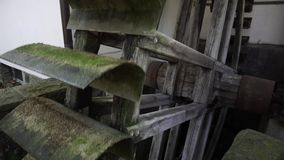 Old Medieval Water Mill Wheel, Germany. Old medieval water mill use water wheel or turbine for mechanical process of milling, grinding, rolling, hammering stock video footage