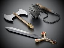 Old Medieval weapons standing on black background. 3D illustration.  Stock Photo
