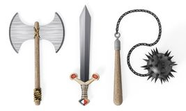 Old Medieval weapons white isolated on wh background. 3D illustration.  Royalty Free Stock Image