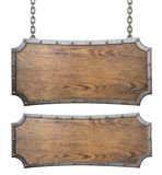 Medieval wood signs set with chain 3d illustration Royalty Free Stock Photography