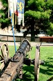 Old medieval wooden cannon Royalty Free Stock Photos