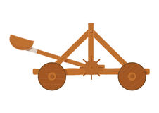 Old medieval wooden catapult shooting stones vector illustration . Stock Image