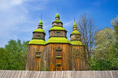 Old medieval wooden church in Pyrohiv, Ukraine Stock Photography