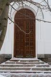 Old medieval wooden door close-up stock photos