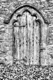 Old Medieval Wooden Door With Decorative Arch And Autumn Leaves. HDR Shallow Depth of Field black and white photography Royalty Free Stock Photos