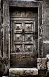 Old Medieval Wooden Door in Historic Building Stock Image
