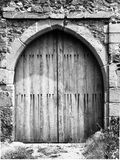 Old medieval wooden entrance gate to the castle Stock Photos