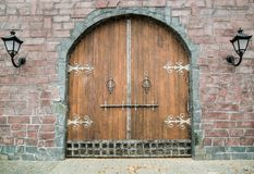 Old medieval wooden gate stock photo