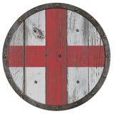 Old medieval wooden shield of crusaders 3d illustration stock illustration