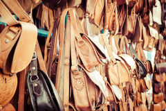 Old Medina souk Fez, artisan shop of colorful moroccan leather, Stock Images