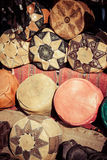 Old Medina souk Fez, artisan shop of colorful moroccan leather, Stock Photo