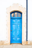 Old Mediterranean Blue Door. In Cyprus, Larnaca stock image
