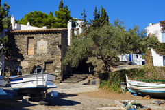 Old Mediterranean fisherman village. With Catalan boat out of water, Cadaques village, Costa Brava, Catalonia, Spain Stock Photos
