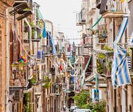 Old mediterranean steet in Cefalu, medieval city of Sicily. Italy Royalty Free Stock Photo