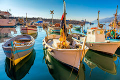 Old Mediterranean Town - marina harbor with fish boats Royalty Free Stock Photo